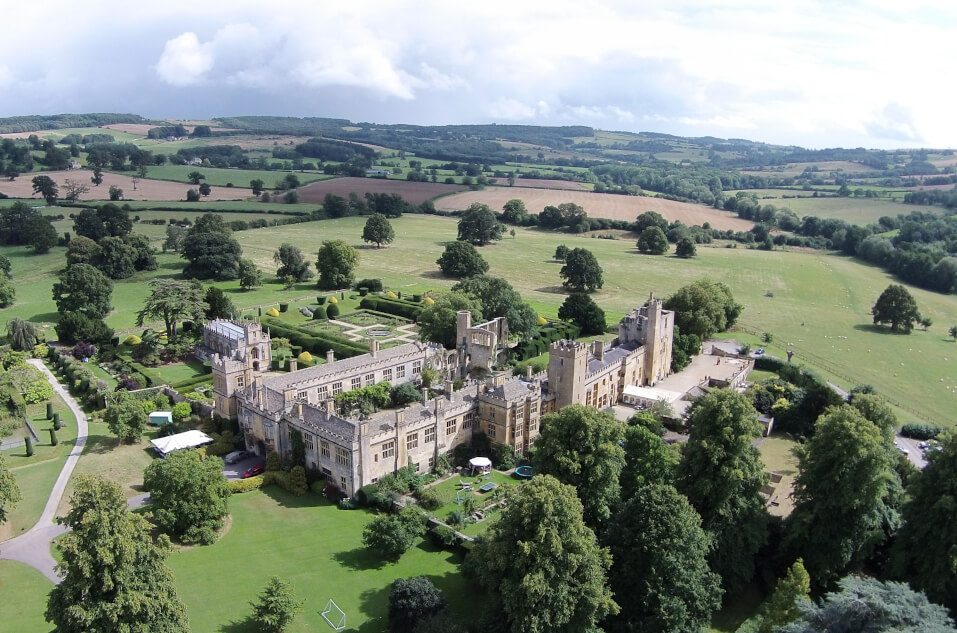 Aerial photograph of Sudeley Castle and gardens