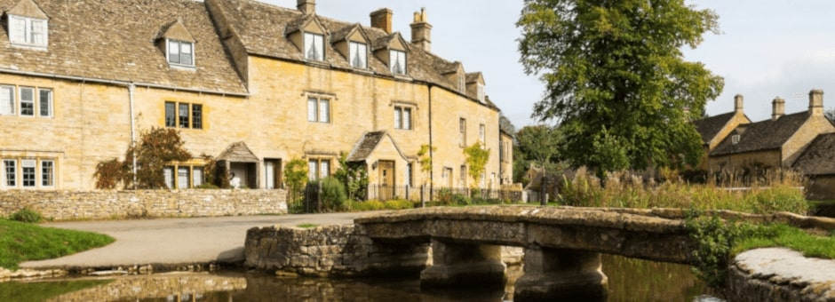 View of Lower Slaughter, the prettiest village in the Cotswolds