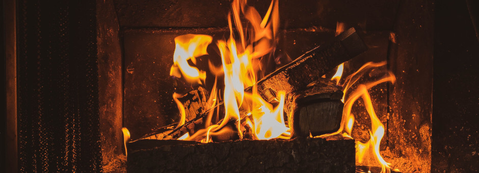 Crackling fire in a cosy pub
