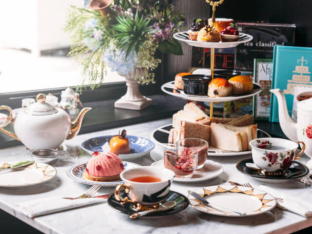 Afternoon tea spread in a Bath tearoom