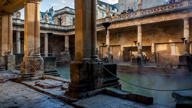 A view of the main pool at the Bath Roman Baths