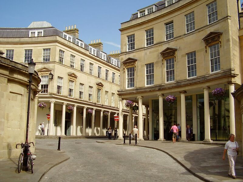 A photo of the outside entrance to the Bath Thermae Spa