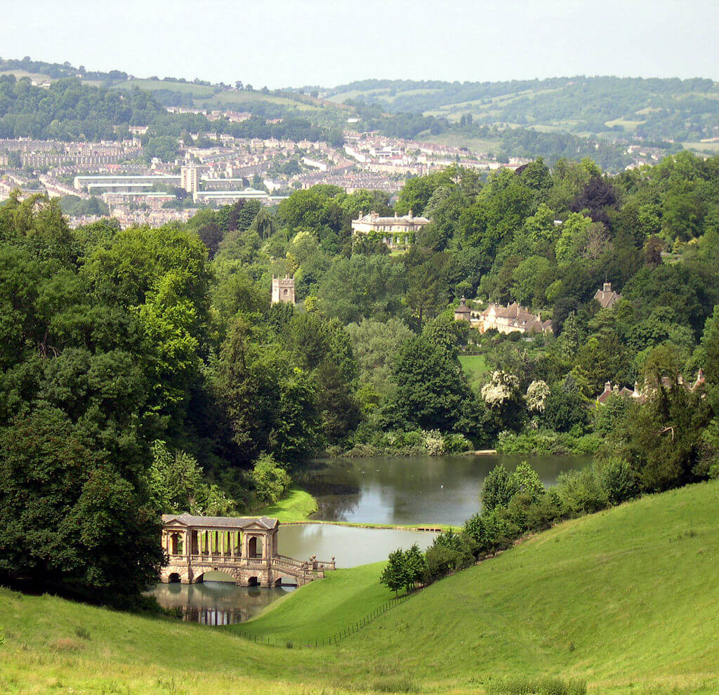 Photo of Bath from Prior Park with the Palladian Bridge
