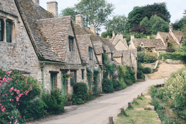 Row of cottages in Bibury in the Cotswolds